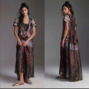 BYRON LARS Metallic lace maxi dress